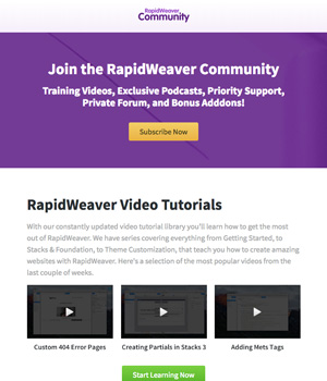 RapidWeaver Community Email